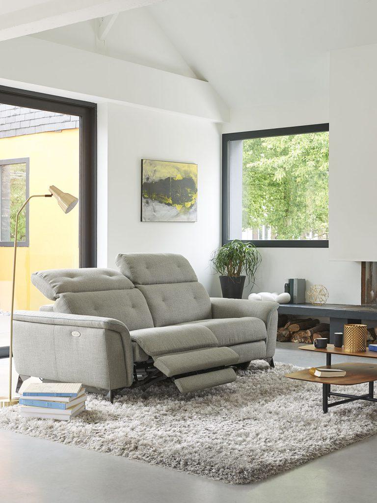 Canapé 3 places relaxation électrique en tissu